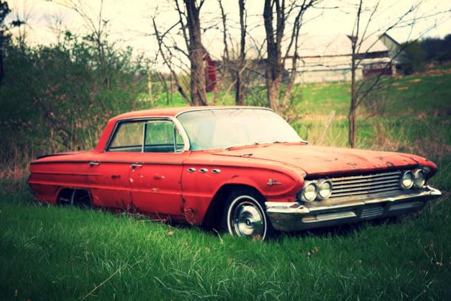 Dead Car In A Farm Field