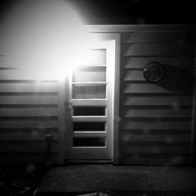 Garage Door At Night