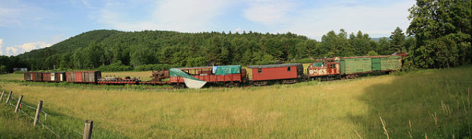 Junked Train Cars Panorama