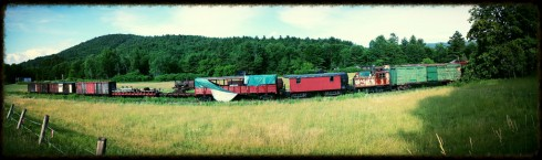 Junked Train Cars Panorama (Edit)