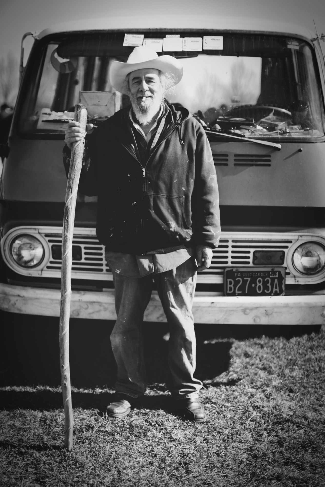 Old Man With A Blue Van (Black And White Edit)