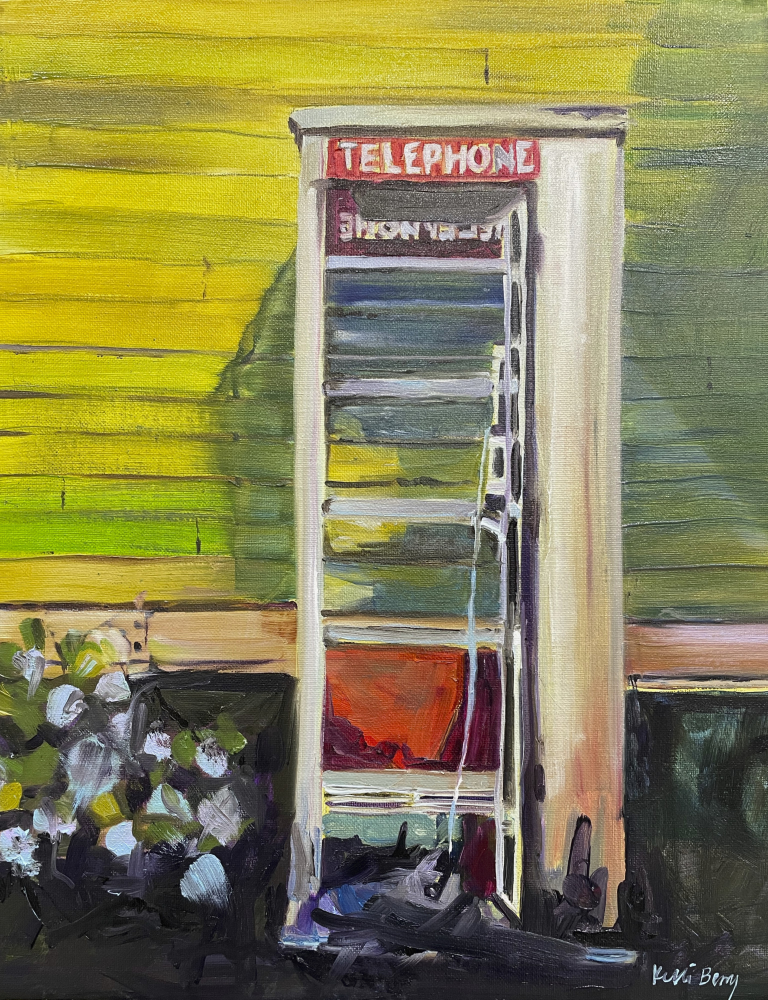 Standing Outside A Broken Phone Booth Broken Hearted – A Painting By Kelli Berry