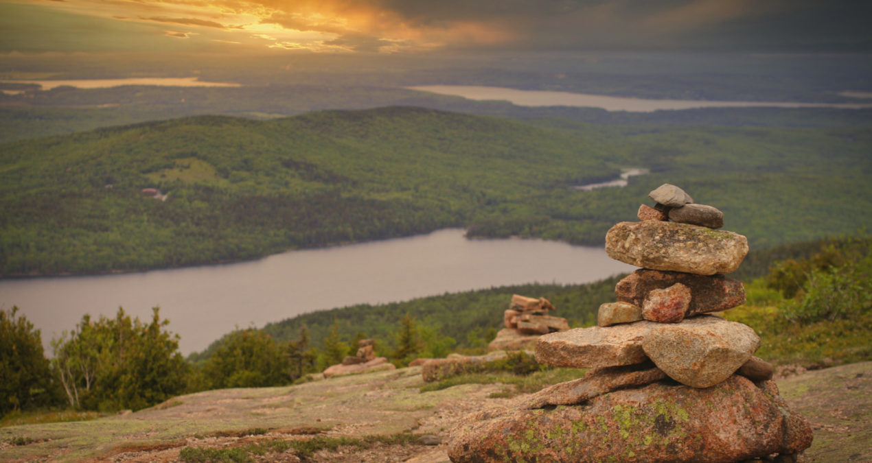 Sunset Cairn At Cadillac Summit
