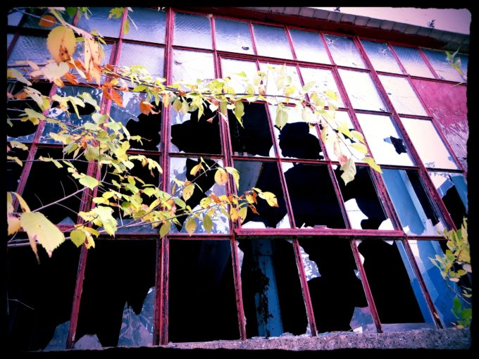 Broken Window Of An Abandoned Factory