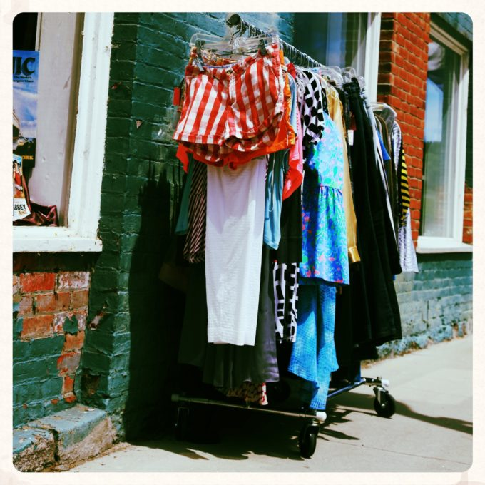 Clothing Rack On The Street