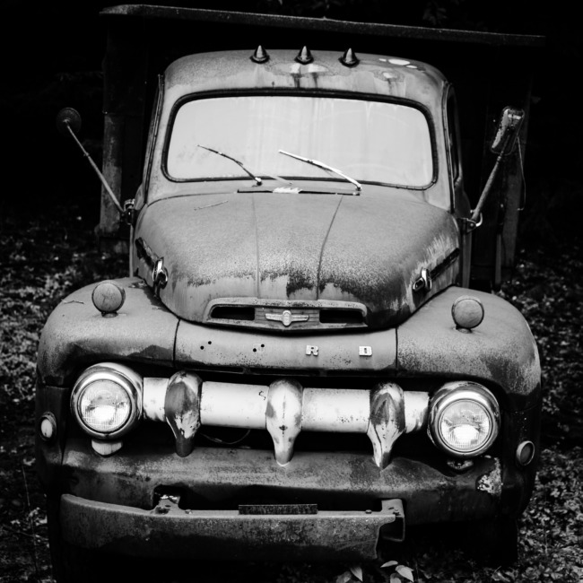 Old Ford In Black And White