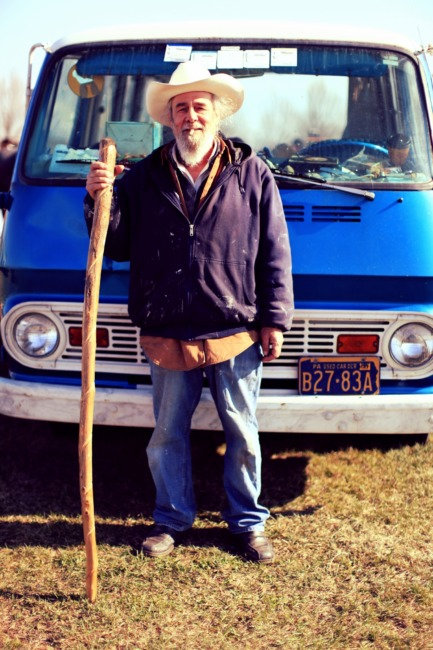 Old Man With A Blue Van