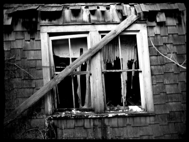 Tattered Curtains In The Window (Black And White Edit)